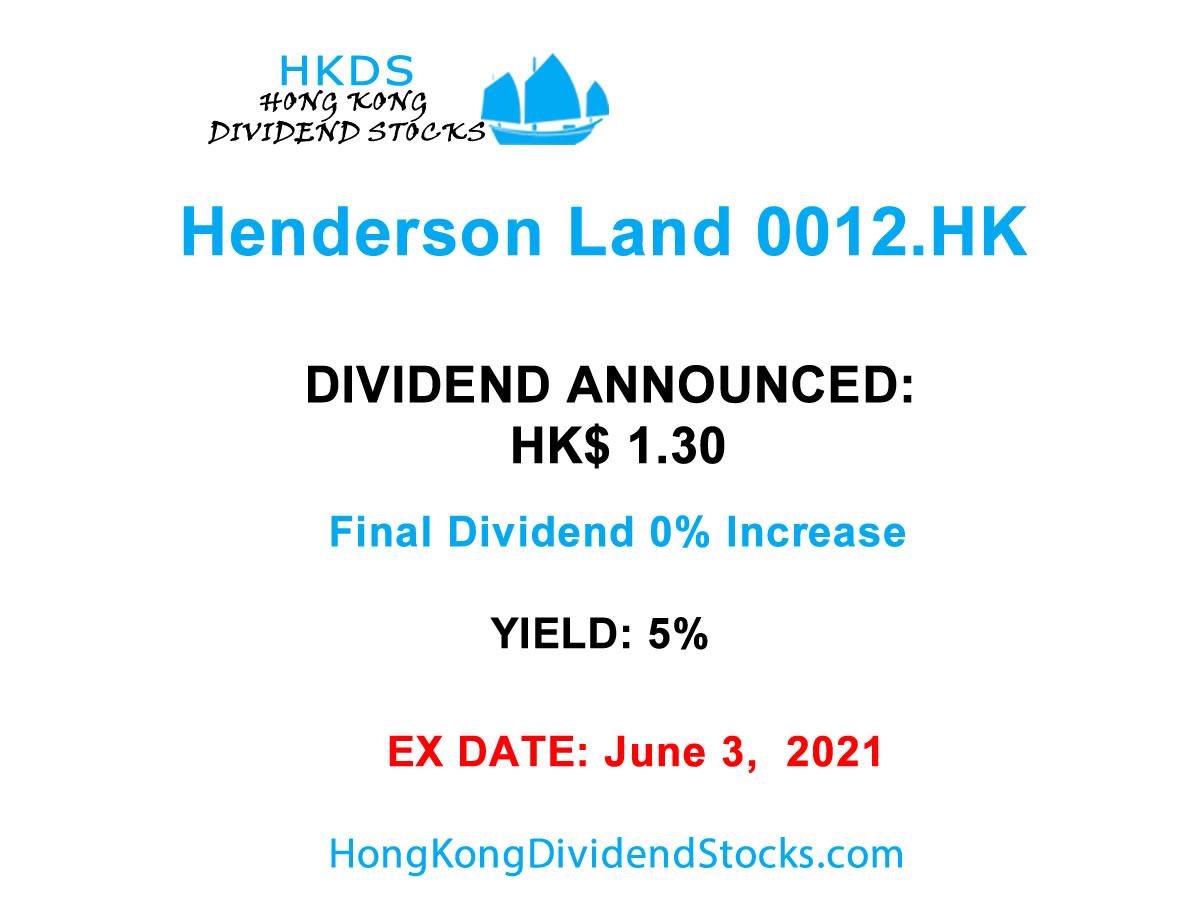 Henderson Land HKG:0012 : Dividend HK$ 1.30 Final